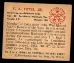 1950 Bowman #5  Y.A. Tittle  Back Thumbnail