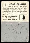 1951 Topps Magic #1  Jimmy Monahan  Back Thumbnail
