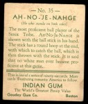 1933 Goudey Indian Gum #35  Ah-No-Je-Nahge   Back Thumbnail