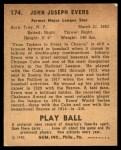 1940 Play Ball #174  Johnny Evers  Back Thumbnail