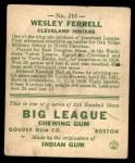 1933 Goudey #218  Wes Ferrell  Back Thumbnail