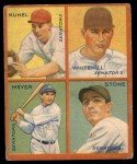 1935 Goudey 4-in-1  Joe Kuhel / Earl Whitehill / Buddy Myer / John Stone  Front Thumbnail