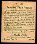 1933 Goudey Indian Gum #216   Torturing their Victims  Back Thumbnail