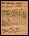 1940 Play Ball #115  Mike Gonzalez  Back Thumbnail