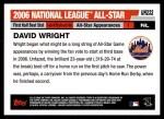 2006 Topps Update #232   -  David Wright All-Star Back Thumbnail