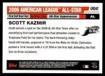 2006 Topps Update #245   -  Scott Kazmir All-Star Back Thumbnail