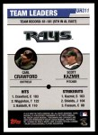 2006 Topps Update #311   -  Carl Crawford / Scott Kazmir Devil Rays Team Leaders Back Thumbnail