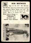 1951 Topps Magic #28  Bob Bestwick  Back Thumbnail