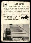 1951 Topps Magic #25  Art Betts  Back Thumbnail