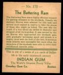 1933 Goudey Indian Gum #172   The Battering Ram  Back Thumbnail
