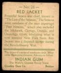 1933 Goudey Indian Gum #26  Red Jacket   Back Thumbnail
