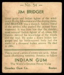 1933 Goudey Indian Gum #54  Jim Bridger   Back Thumbnail