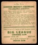 1933 Goudey #76  Mickey Cochrane  Back Thumbnail