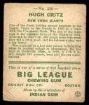 1933 Goudey #238  Hugh Critz  Back Thumbnail