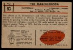 1953 Bowman #93  Ted Marchibroda  Back Thumbnail