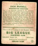 1933 Goudey #167  Jack Russell  Back Thumbnail