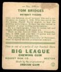 1933 Goudey #199  Tommy Bridges  Back Thumbnail
