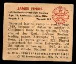 1950 Bowman #128  James Finks  Back Thumbnail