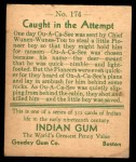 1933 Goudey Indian Gum #174   Caught in the Attempt  Back Thumbnail
