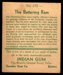 1933 Goudey Indian Gum #172   The Battering Ram  Back Thumbnail