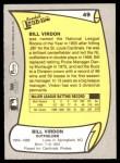 1988 Pacific Legends #49  Bill Virdon  Back Thumbnail