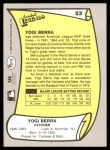 1988 Pacific Legends #53  Yogi Berra  Back Thumbnail