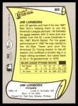 1988 Pacific Legends #80 ERR Jim Lonborg  Back Thumbnail