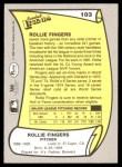 1988 Pacific Legends #103  Rollie Fingers  Back Thumbnail