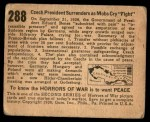 1938 Gum Inc. Horrors of War #288   Czech President Surrenders as Mobs Cry Fight Back Thumbnail