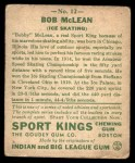 1933 Goudey Sport Kings #12  Bobby McLean   Back Thumbnail