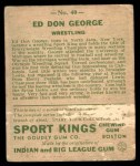 1933 Goudey Sport Kings #40  Don George   Back Thumbnail