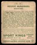 1933 Goudey Sport Kings #15  Reggie McNamara   Back Thumbnail
