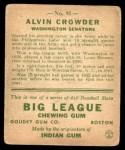 1933 Goudey #95  Alvin Crowder  Back Thumbnail