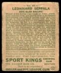 1933 Goudey Sport Kings #48  Leonhard Seppala   Back Thumbnail