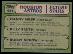 1982 Topps #441   -  Bobby Sprowl / Billy Smith / Danny Heep Astros Rookies Back Thumbnail