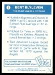 1977 Topps Cloth Stickers #5  Bert Blyleven  Back Thumbnail