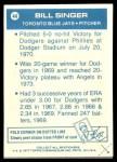1977 Topps Cloth Stickers #44  Bill Singer  Back Thumbnail