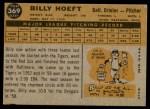 1960 Topps #369  Billy Hoeft  Back Thumbnail