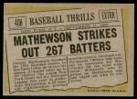 1961 Topps #408   -  Christy Mathewson Baseball Thrills Back Thumbnail