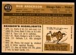 1960 Topps #412  Bob Anderson  Back Thumbnail