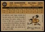 1960 Topps #304  Joe Ginsberg  Back Thumbnail