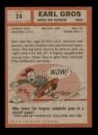 1962 Topps #74  Earl Gros  Back Thumbnail