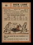 1962 Topps #60  Dick Lane  Back Thumbnail