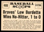1961 Nu-Card Scoops #408   -   Lew Burdette  Wins No-Hitter, 1 to 0  Back Thumbnail