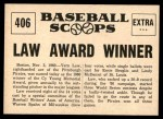 1961 Nu-Card Scoops #406   -   Vern Law  Winner of Cy Young Award Back Thumbnail