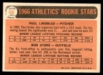 1966 Topps #568   -  Paul Lindblad / Ron Stone Athletics Rookies Back Thumbnail