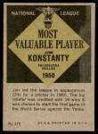 1961 Topps #479   -  Jim Konstanty Most Valuable Player Back Thumbnail