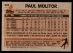 1983 Topps #630  Paul Molitor  Back Thumbnail