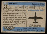 1957 Topps Planes #36 BLU  Tu-104 Back Thumbnail