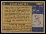 1971 Topps #14  Fred Carter   Back Thumbnail